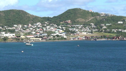 Zoom out view of the usland of Saint Kitts, the Caribbean