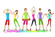 Group of young sport people, colorful clothes man and woman