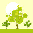 tree landscape with green leaves vector