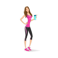 Sport woman hold shaker drink fitness trainer, hot sexy girl