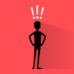 business man silhouette with exclamation mark