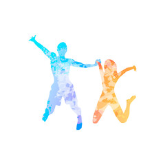Couple man and woman holding hands jump colorful silhouette
