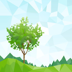 tree green leaves polygon graphic with copy space