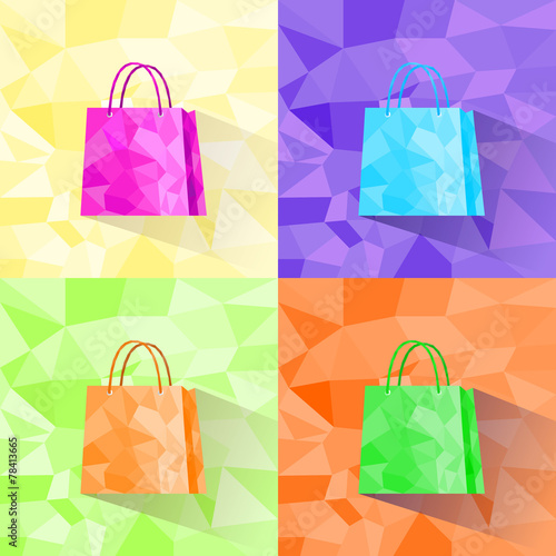 shopping bag set polygon style colorful design - 78413665