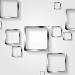 Metallic squares on white background