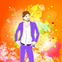 Fashion man over colorful pain splash background, male model