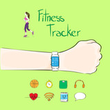 hand fitness tracker wrist sport bracelet woman exercise workout poster