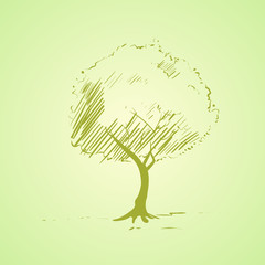 green tree sketch bright silhouette vector