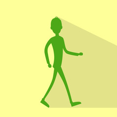 casual man silhouette walking side flat vector