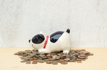 pile thai baht coin with doggy bank on plywood background and co