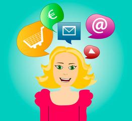 Communication Bubble Woman
