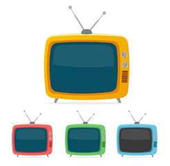Vector retro tv set. Flat Design
