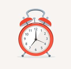 Vector red wakeup clock. Flat Design