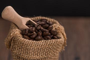 Coffee grains in a bag