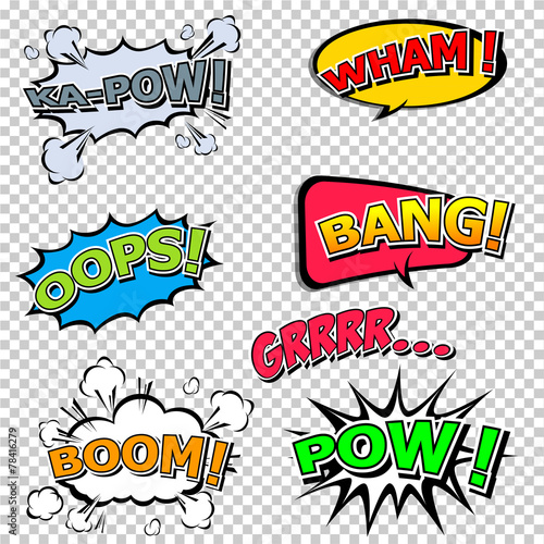 Fotobehang Pop Art Collection multicolored comic sound Effects