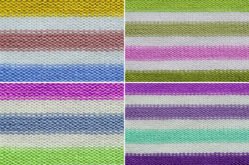 Set Knitted wool texture background