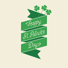 Happy St. Patrick's Day vector lettering on a green ribbon