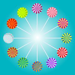 Color lollipops. Vector illustration.