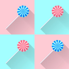 Blue and pink lollipops. Vector illustration.