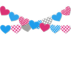 Stitched hearts buntings garlands isolated on white background