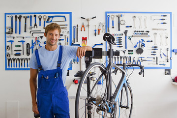 Cycle technician in workshop