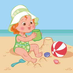 Funny cute cartoon baby playing on the beach.Vector illustration