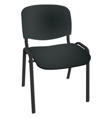 Black office single chair isolated on white background