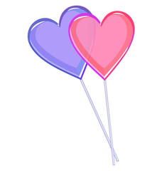 Two love lollipops hearts isolated on white background