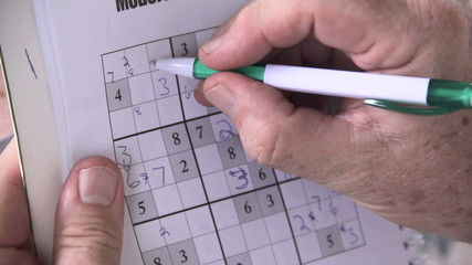Close up of person playing sudoku with a pen.