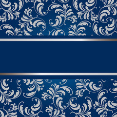 flourish card in blue and grey