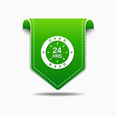 24 Hours Support Green Vector Icon Design