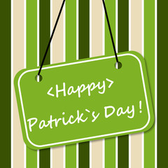 Signboard with a happy day Patrick on striped background vector