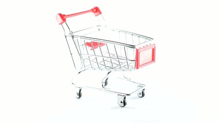 Shopping supermarket cart, the rotation around the axis