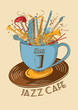 Jazz cafe concept with musical instruments in a cup - 78420425