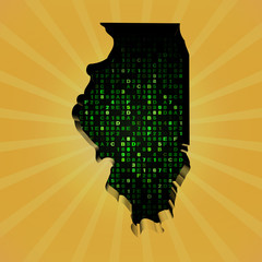 Illinois sunburst map with hex code illustration