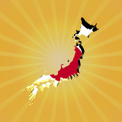 Japan sunburst map with flag illustration