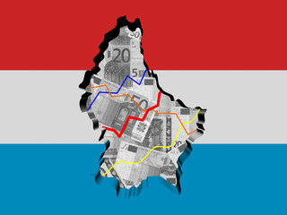 Luxembourg map with flag and graphs on Euros illustration