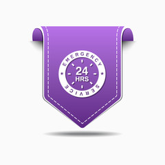 24 Hours Emergency Service Purple Vector Icon Design