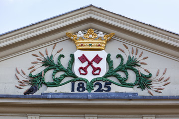 Coat of arms of Leiden on the Koornbrug