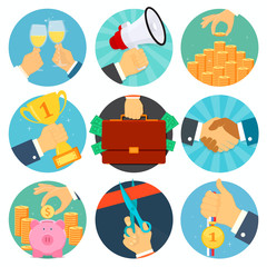 Vector business flat icons set