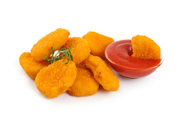 Nuggets, ketchup isolated on white background