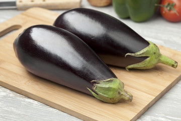 Fresh purple eggplants