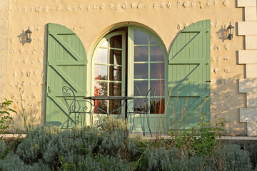 Arched door with green shutters
