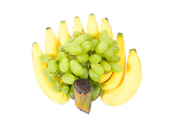 Bunch of bananas and green grape, isolated on white background