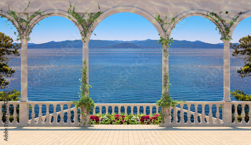 Terrace with balustrade overlooking the sea and mountains - 78422468