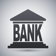 Bank building icon, vector