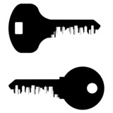 key vector logo design template. City or town icon.