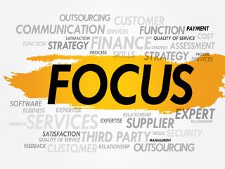 FOCUS word cloud, business concept