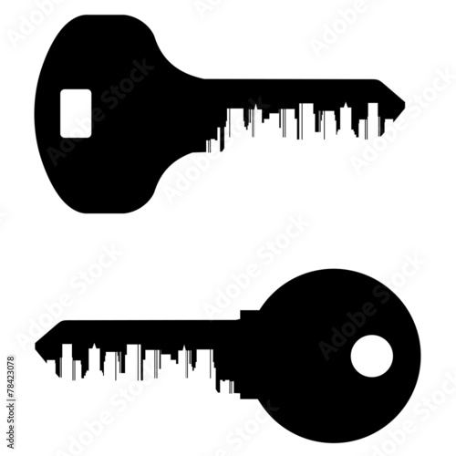 key vector logo design template. City or town icon. - 78423078