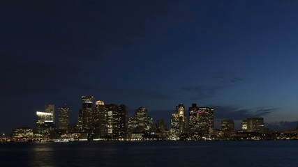 4K Time lapse zoom in Boston skyline at twilight